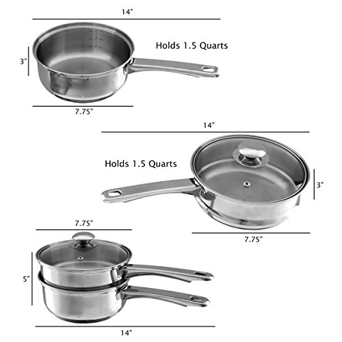 Stainless Steel 6 Cup Double Boiler – 1.5 Quart Saucepan 2-in-1 Combo with Vented Glass Lid- Kitchen Cookware with Measurements by Classic Cuisine