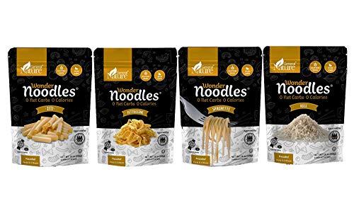Wonder Noodles, 4 Pack Keto Pasta: (1) Fettuccine (1) Spaghetti (1) Rice (1) Ziti - Zero Carb Noodles - Kosher, Vegan Friendly, No Sugar, No Fat - Ready to Eat, Paleo Pasta (56 Oz. Total)
