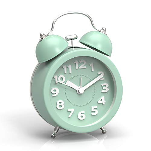 PiLife - Reloj despertador analógico clásico de 7,62 cm, con luz de fondo, funciona con pilas, doble campana para niños (verde...