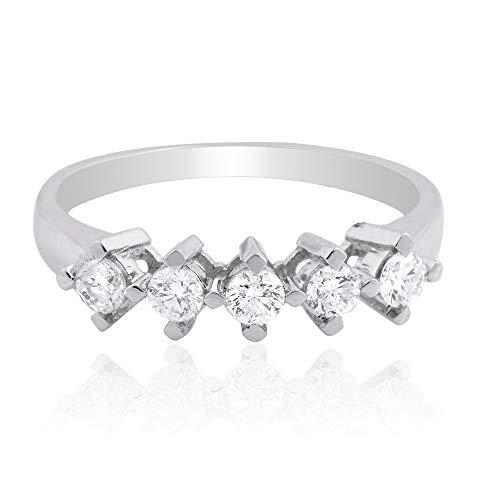 Spectrum Jewels 1/2 quilates SI Clarity HI Color Cinco Diamante Anillo de Oro Blanco Sólido de 18 k Joyas para Niñas y Mujeres