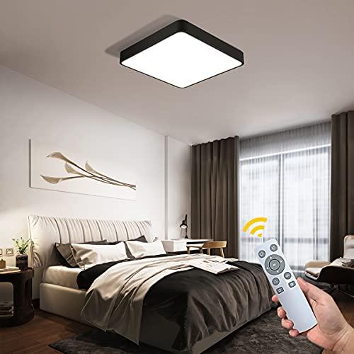 NEWSEE 50x50cm 36W Led Deckenleuchte mit Fernbedienung Dimmbar 3000-6500K Deckenlampe Schwarz mit Nachtlicht Modern Lampe Für Wohnzimmer Schlafzimmer Kinderzimmer Küche Balkon