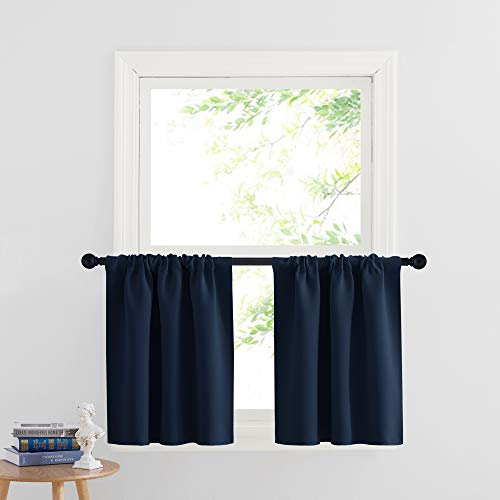 RYB HOME Half Window Curtains - Room Darkending Privacy Curtains Short Drapes for Kitchen barhroom Shower Kids Nursery Bedroom, W 29 x L 24 Each, Navy Blue, 2 Panels