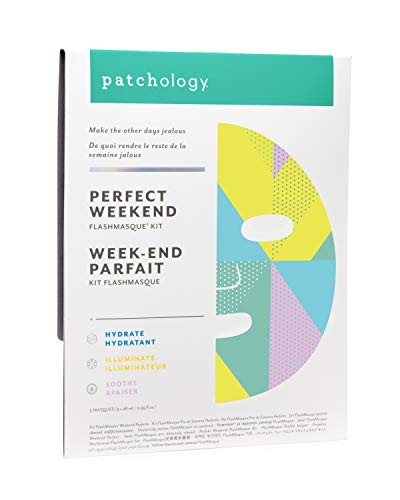 Patchology Facial Mask, Perfect Weekend Sheet Mask with Hyaluronic Acid, moisturizer, and firming formula, 3 Count