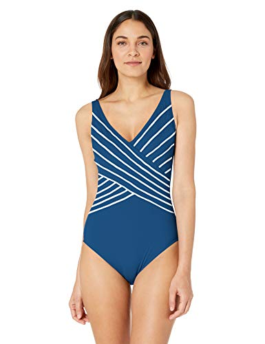 Gottex Women's Piped Surplice One Piece Swimsuit, Embrace Teal White, 14