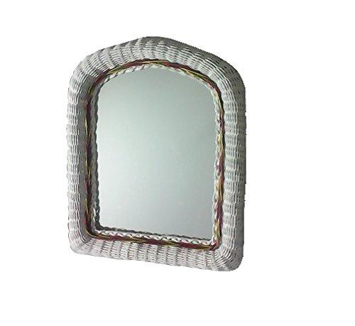Inconnu Miroir en moelle de rotin laqué Blanc