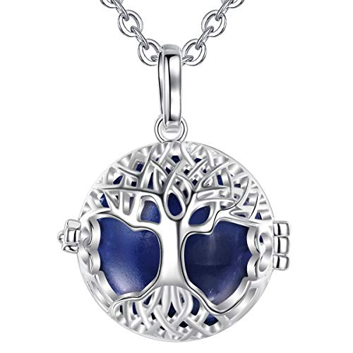 """AEONSLOVE Harmony Ball Pregnancy Bola Necklace Silver Celtic Tree of Life Melody Angel Chime Caller Bell 20mm Mexican Bola Ball Pendant 30"""" Necklaces for Pregnant Women Baby Mom Gifts(Navy Blue)"""