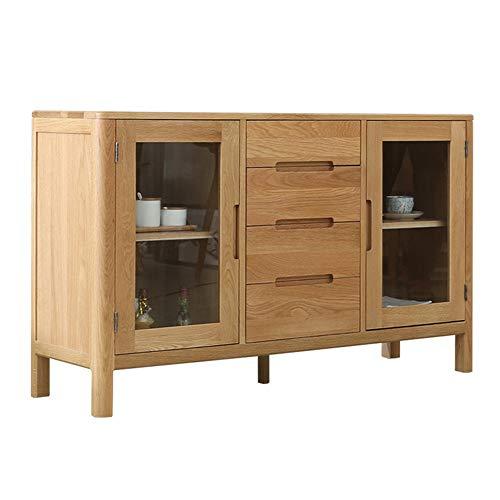 JOMSK Aparador White Oak Buffet Gabinete de Servidor Consola de Mesa Bar Puerta de Entrada del gabinete Gabinete de Almacenamiento Puertas Estar Comedor (Color : Wood, Size : 135x40x80cm)