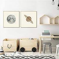 キャンバス絵画地球月金星土星壁アートポスター太陽系惑星子供のための教育ポスター子供のリビングルームの装飾-(50X50cm)X2フレームなし