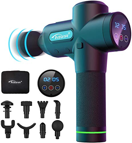 Massage Gun Handheld Deep Tissue Percussion Muscle Massager with 20 Speeds and 9 Types of Massage Heads for Relieving Muscle Pain, Soreness, and Stiffness