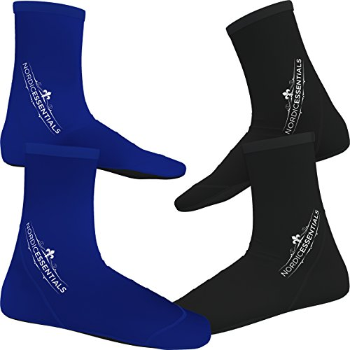 Beach Socks [2 Pairs] Wear in Sand Playing Volleyball & Soccer or as Booties for Snorkeling, Diving & Water Sports - Kids, Women & Men - by Nordic Essentials™ - (Black + Blue, M) - 1 Year Warranty