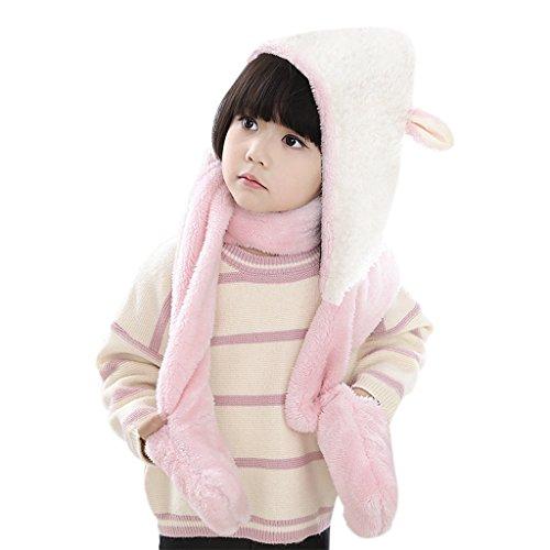 Bambini Toddler Cute 3 in 1 con cappuccio cappello invernale termica soffice soffice cappello con cappuccio con guanti guantoni tasca lunga sciarpa per neonati ragazze, grande regalo di Natale