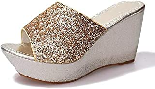 Sequined Wedge Slippers Female Muffin thick-soled Sandals Slippers high-heeled Casual non-slip Shoes Simple elegant slippers (Color : Gold, Shoe Size : 7.5)