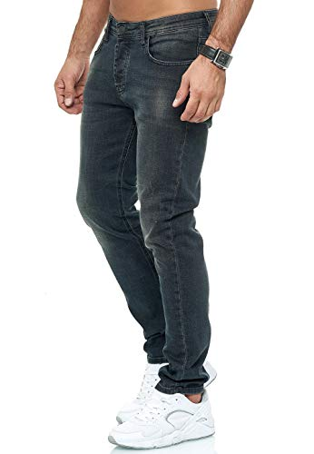 Red Bridge Herren Jeans Hose Slim-Fit Regular Distressed Faded Shiny (W33 L32, M4248 - Black)