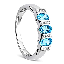 Material: White Gold 9KT, Gold Weight 2.38 Gr, Diamond weight 0.01 ct, Diamond units 4 , Blue Topaz 0.75 ct, Topaz units 3 The philosophy of our label is simple: timeless and elegant designs, jewellery suitable for every occasion This piece comes fro...