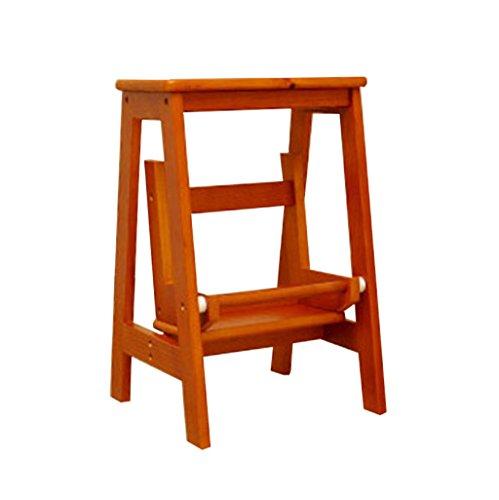 Tritthocker Klappstufen Hockerleiter Holz Massivholz-Faltentreppe/Multifunktionale Holzstuhl/Mobile Leiter/Doppel-Leiter (Stehleiter) (Farbe : B)