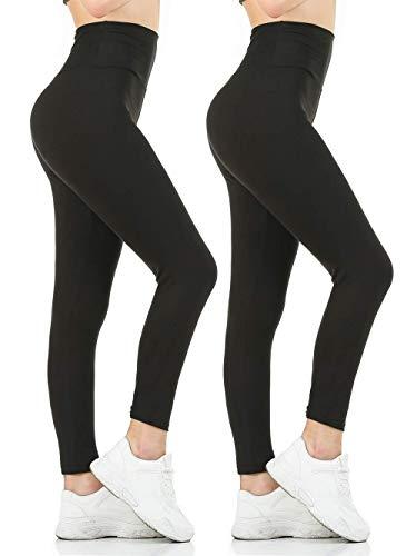 Gnpolo Womens Black High Waisted Leggings 2 Packs Soft Slim Tummy Control Blouse Yoga Pants