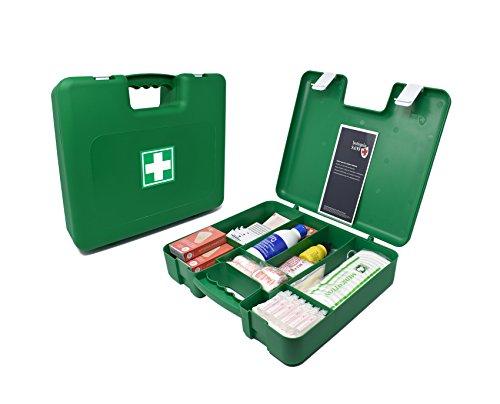 Botiquín Maletín de primeros auxilios grande - con 100 artículos indispensables para realizar curas de emergencia, verde