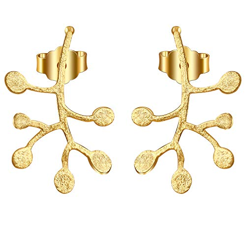 Regalo para Navidad JIANGYUYAN S925 Pendientes de botón de plata esterlina Ramas de la vida Hojas Pendiente colgante para mujeres y niñas(Gold)
