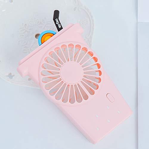 AKDSteel Draagbare cartoon cup-vorm, handheld, mini-USB-oplaadbaar, instelbare ventilator met accu voor studenten roze