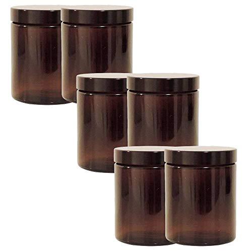 mikken 6 braune Glastiegel 180ml / Salbentiegel/Cremetiegel Gewürzgläser aus Braunglas inkl. Beschriftungsetiketten Glasdose, Glas, 6.6 x 6.6 x 8.1 cm, 6-Einheiten