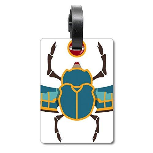 Etiqueta de identificación para maleta, diseño de escarabajo egipcio, color rojo, amarillo y azul