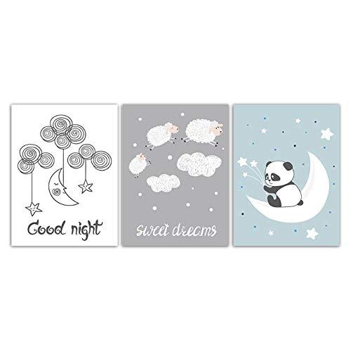 LYFCV Aquarell Bild Wandkunst Leinwand Malerei Cartoon Mond Und Schaf Panda Poster HD Drucke Abstrakte Hochzeitsdekoration 50x70 cm Kein Rahmen