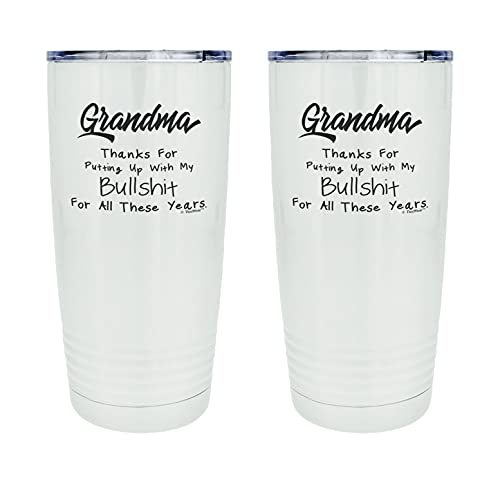 Best Grandma Ever Gifts Grandma Thanks For Putting Up With My Bullsh-t 2-Pack 20oz Stainless Steel Insulated Travel Mug With Lid