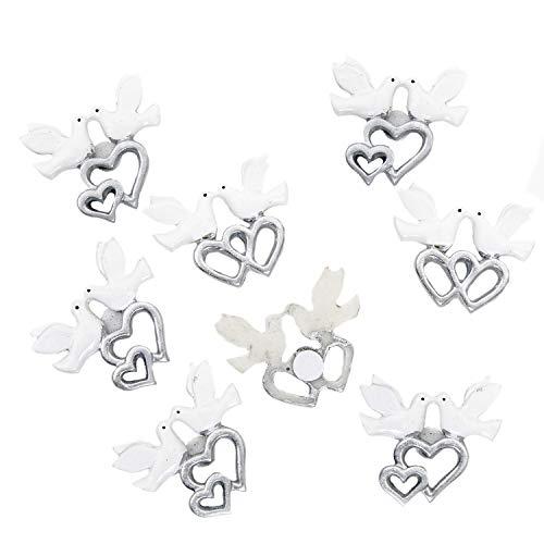 8 Stück kleine Mini Tauben Paare Taubenpaar in weiß mit Herzen in silber Zierdeko Streuteile Liebespaar Hochzeitspaar 3,5 x 4 cm mit Klebepunkt Turteltauben Hochzeitstauben zwei Täubchen