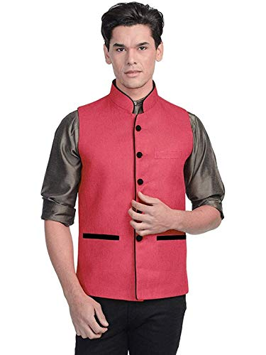 Vastraa Fusion Herren Blended Bandhgala Festliche Nehru Jacke/Weste, Pink, Größe 46