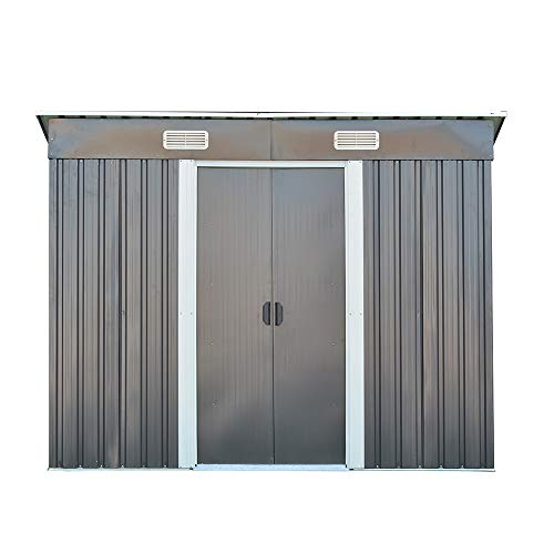 elevenfurniture 8 x 4ft Tool Storage House Metal Garden Apex Roof Storage Shed (Grey)