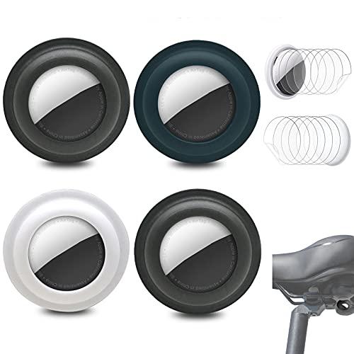 4 Paquetes de Funda de Silicona para Apple Airtags, Soporte de Funda Protectora Adhesiva Airtag antirrayas Funda Protectora de Pegatina Airtag, pegada a la Bicicleta (Negro y Azul y Blanco)
