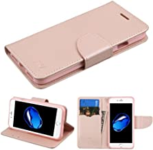 Case+Tempered_Glass MYBAT MyJacket with Credit Card Slot Fits Apple iPhone 7 Plus/7S Plus/8 Plus PU Leather Wallet/Purse/Clutch Rose Gold/Pink
