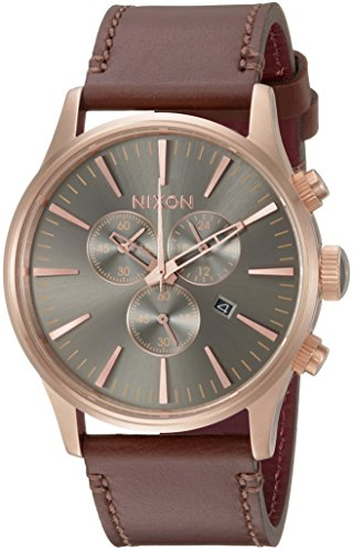 Nixon Men's Sentry Chrono Leather Japanese-Quartz Watch with Stainless-Steel Strap, Brown, 20 (Model: A4052001-00)