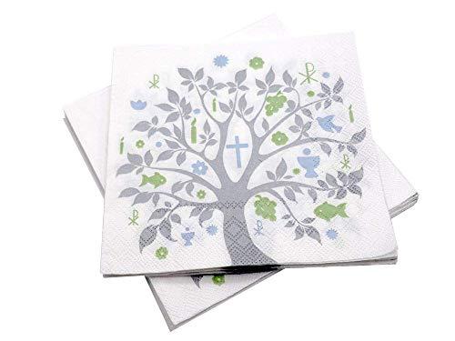 20 Servietten Baum des Lebens Grün Blau Grau Tischdeko Feier Konfirmation Kommunion Taufe