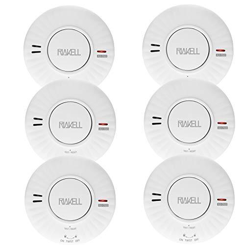 RIAKELL Rauchmelder 10 Jahre Batterie, TÜV und DIN EN 14604 geprüfter Rauchwarnmelder Feuermelder mit fotoelektrischem Sensor (6 Stück)