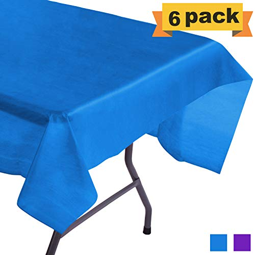 SWEET N LUX 6 Pack Premium Plastic Tablecloth – 54 x 108 inch Waterproof Heavy-Duty Plastic Table Cover for Rectangle Tables, Ideal for Parties and Events – Thick Disposable Table Cloth – Royal Blue