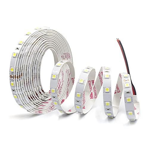Arotelicht 5M 24V tira de LED 6000K blanco frío 300LED cinta autoadhesiva 5050 cinta de luz LED, cinta de luz IP20 no impermeable Iluminación interior para cocina, armario, decoración de habitación