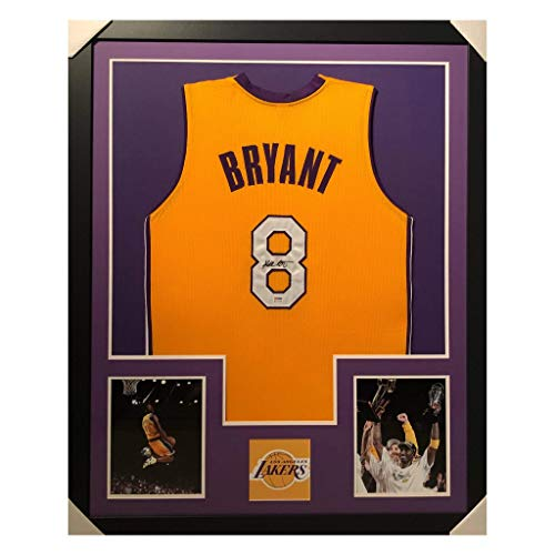Kobe Bryant Autographed Basketball Jersey - Framed Los Angeles Yellow Custom - Hand Signed & PSA Authenticated