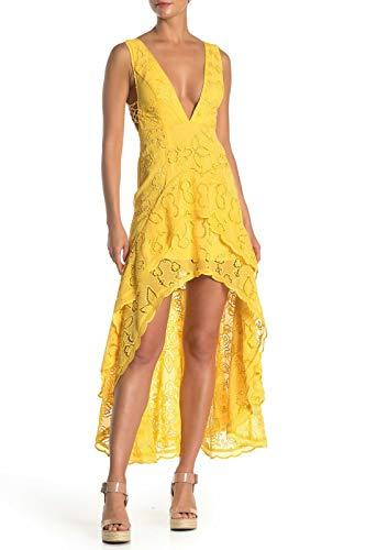 Free People Womens Catalina Lace Sheer Maxi Dress Yellow 6