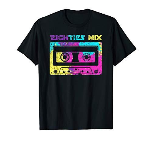 Neon Eighties Mix Tape T-shirt for Men, Women, 5 Colors