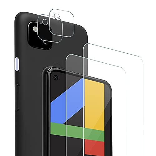 Zinking Panzerglas Schutzfolie für Google Pixel 4a, (2 Stück) Panzerglasfolie + (2 Stück) Kamera Folie, 9H Festigkeit, HD Klar, Transparent Anti-Kratzer Bildschirmschutzfolie, Anti-Staub, Anti-Fingerprint