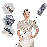 Plumero de microfibra para limpieza con poste extra largo de 100 pulgadas (acero inoxidable), flexible, lavable, sin pelusas, para limpiar ventilador de techo, muebles, telaraña, coche, ordenador
