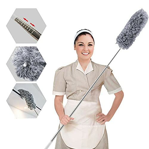 Plumero de microfibra para limpieza con poste extra largo de 100 pulgadas (acero inoxidable),...