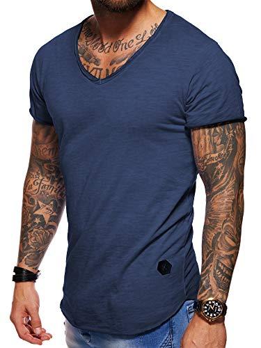 behype. Herren Oversize Kurzarm Basic T-Shirt V-Neck 20-1720 (L, Navy_Washed)