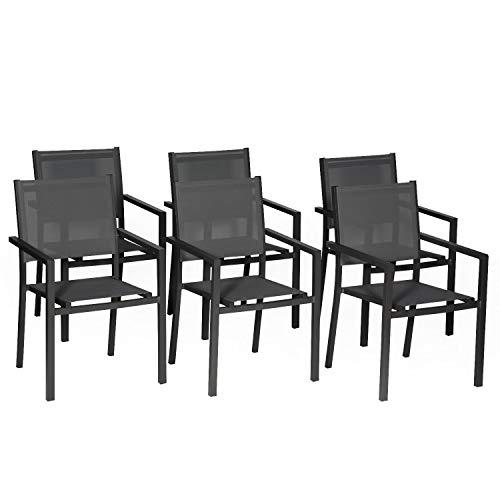 Happy Garden Lot de 6 chaises en Aluminium Anthracite - textilène Gris