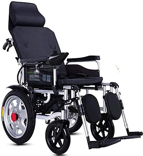Silla de ruedas eléctrica, ajustes plegables, ligeros e inteligentes para ancianos, discapacitados, scooter de cuatro ruedas reclinados completos automáticos,Púrpura