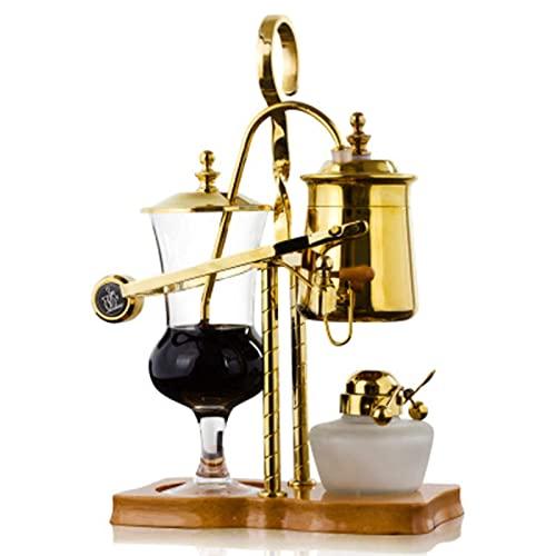 XYLXJ Cafetera Siphon, cafetera Belga BRoyal Family Balance Syphon, diseño clásico y elegante (5 tazas), cafetera, oro (dorado)