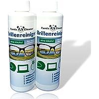 Panda Cleaner® de recambio Set 500ml Gafas limpiador 2x 250ml botella + Paño para Limpieza | sin alcohol | antibeschlag | streifenfrei | también para pantallas, monitores, visera Adecuado