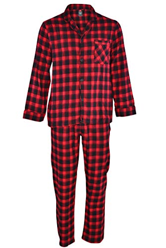 Hanes Men's 100% Cotton Flannel Plaid Pajama Top and Pant Set, Red, X-Large