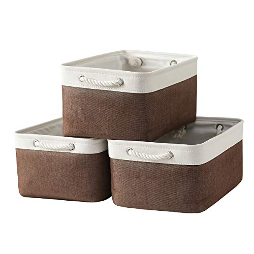Sacyic Large Storage Baskets for Shelves, Fabric Baskets for Organizing, Collapsible Storage Bins for Closet, Nursery, Clothes, Toys, Home & Office [3-Pack, White&Brown]